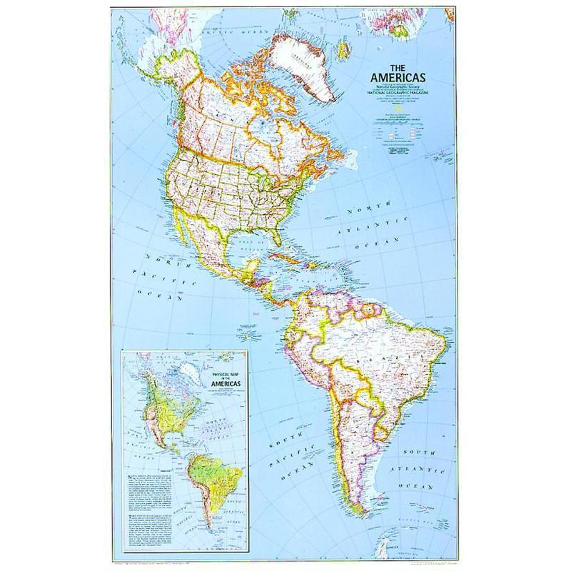 National Geographic Kontinent Karte Nord Und Sud Amerika Politisch