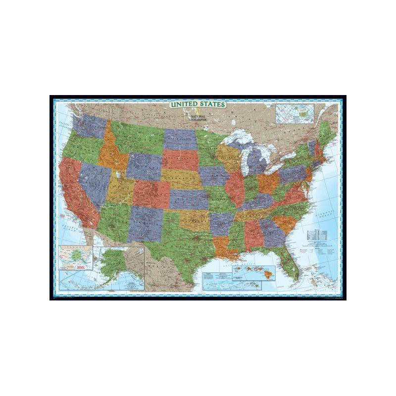 national geographic the decorative usa map politically