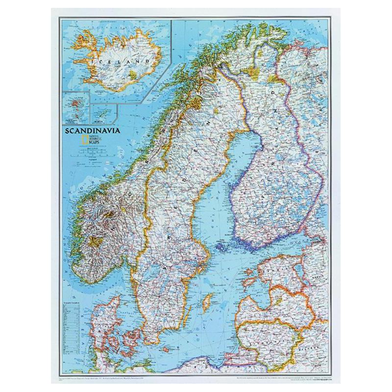 National Geographic Regional Karte Skandinavien