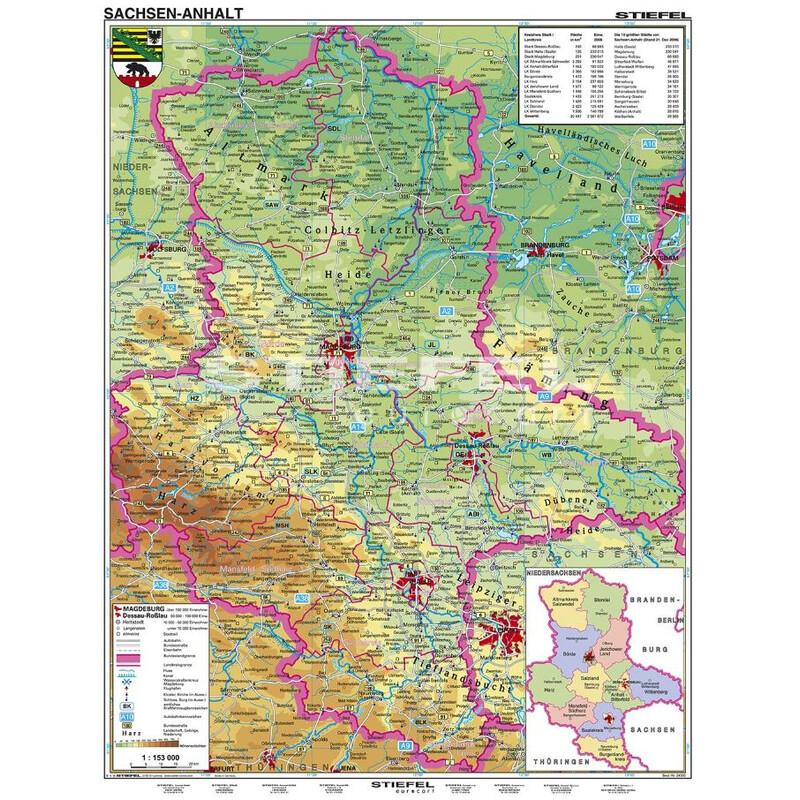 Stiefel Regional Karte Sachsen Anhalt Physisch Xl