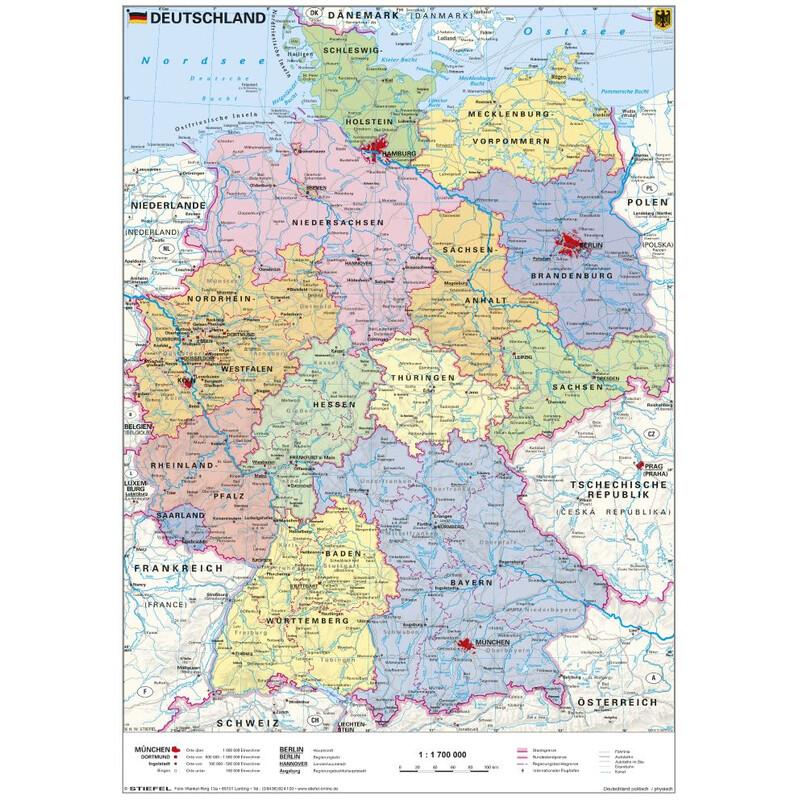 Stiefel Landkarte Schreibunterlage Deutschland politisch ...
