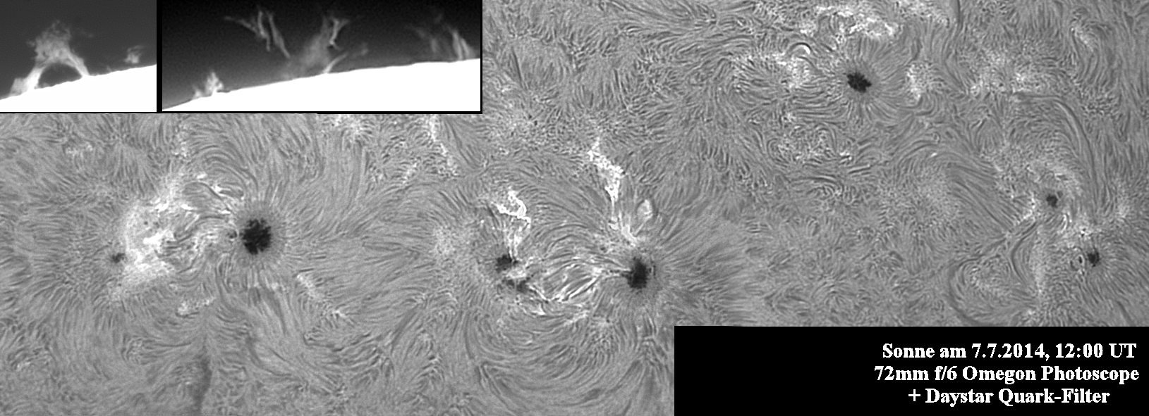 Sonne am 7.7.2014 mit dem Daystar-Quark-Chromosphere