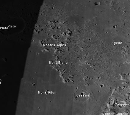 Die Mondalpen Quelle: Virtual Moon Atlas