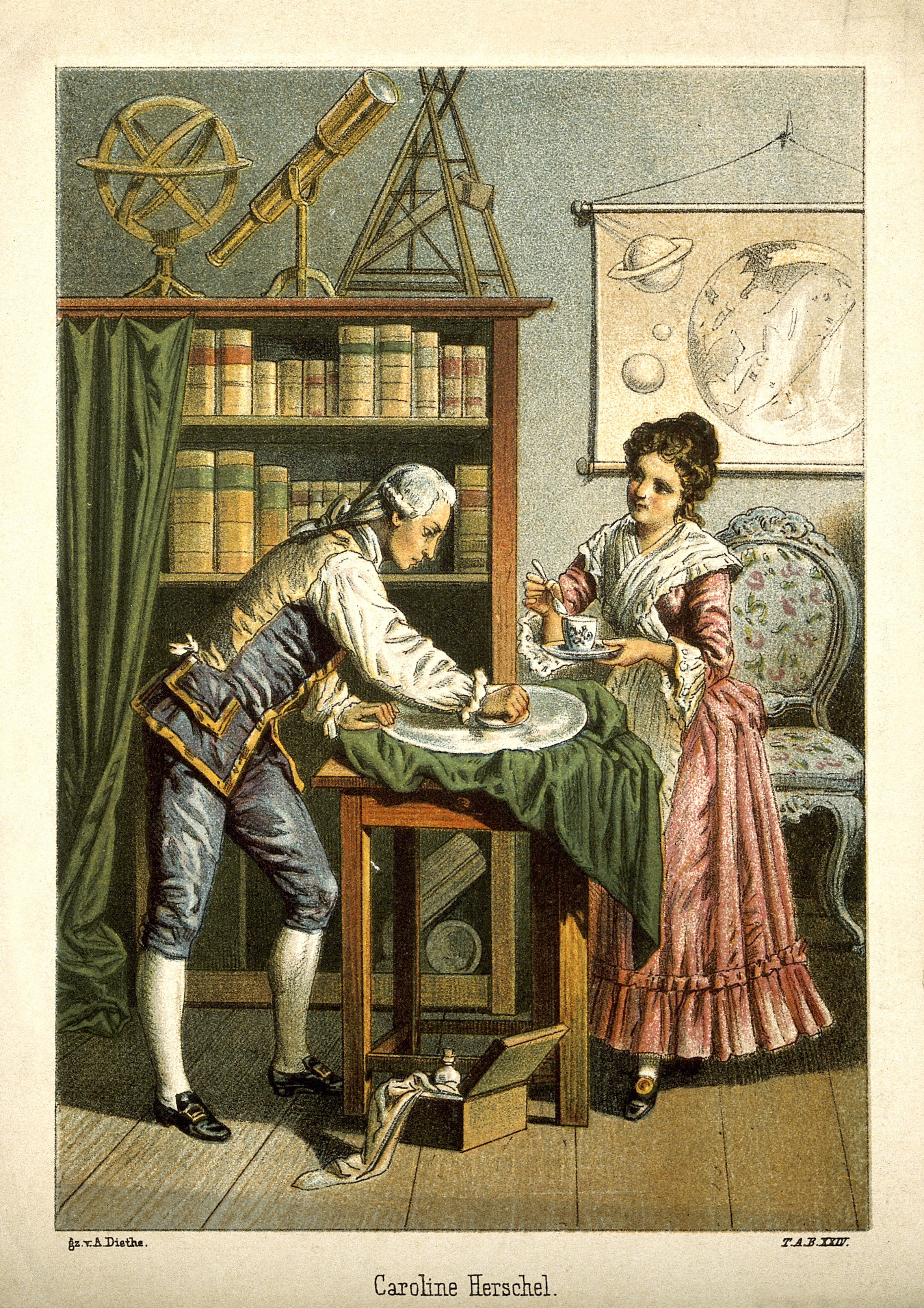 V0002731 Sir William Herschel and Caroline Herschel. Coloured lithogr Credit: Wellcome Library, London. Wellcome Images images@wellcome.ac.uk http://wellcomeimages.org Sir William Herschel and Caroline Herschel. Coloured lithograph by A. Diethe. Published: - Copyrighted work available under Creative Commons Attribution only licence CC BY 4.0 http://creativecommons.org/licenses/by/4.0/