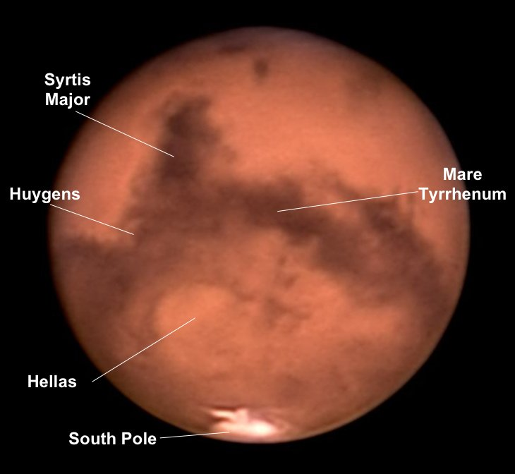 Mars avec annotations, photo B. Gährken.